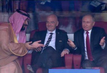 """Maçı birlikte izleyen Putin ve Selman'ın ilginç """"diyalogu"""" kameralara yansıdı"""