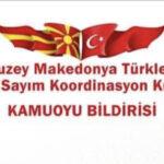 Makedonya Türkleri Milli Sayım Koordinasyon Kurulu Nufus sayımı bildirisi